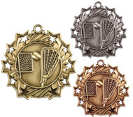 Lacrosse Ten Star Medal - Gold, Silver or Bronze | La Crosse 10 Star Medallion | 2.25 Inch Wide
