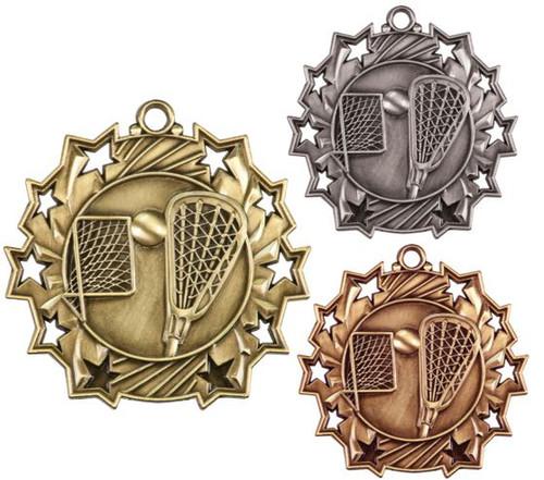 Lacrosse Ten Star Medal - Gold, Silver or Bronze | La Crosse 10 Star Medallion | 2.25 Inch Wide