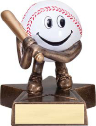 Baseball Lil' Buddy Trophy | Engraved Smiling Baseball Award - 4 Inch Tall