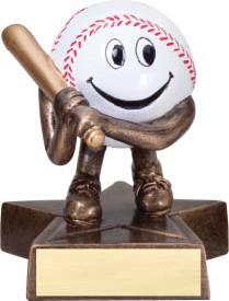 Baseball Lil' Buddy Trophy   Engraved Smiling Baseball Award - 4 Inch Tall