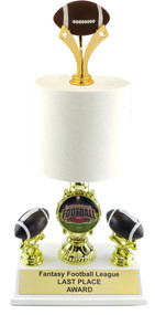 Fantasy Football Toilet Paper Shield Trophy | FFL Loser Award | 12 - 14.5 Inch Tall