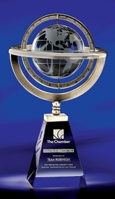 Omni Globe Crystal Corporate Award - 12.75""