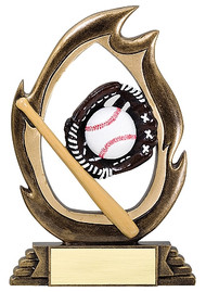 "Baseball Flame Series Trophy | Baseball Award - 6"" & 7.25"""