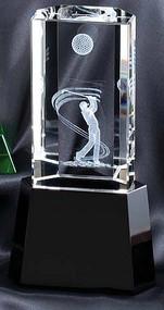 Crystal 3-D Golfer Trophy