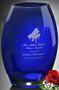 """Cobalt Oval Vase Crystal Award - Large 8"""""""