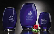 Cobalt Oval Vase Crystal Award - 3 sizes