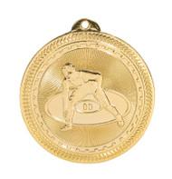 Wrestling BriteLazer Medal - Gold, Silver & Bronze | Engraved Wrestler Medallion | 2 Inch Wide Wrestling BriteLazer Medal - Gold