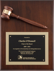 Genuine Walnut Gavel Plaque 2