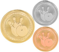 Bowling BriteLazer Medal - Gold, Silver & Bronze | Engraved Bowler Medallion | 2 Inch Wide