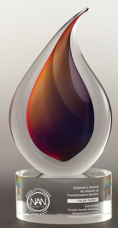 "Flare Art Glass Trophy | Art Glass Corporate Award – 9.75""  & 12"" - Engraved"