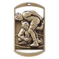 "Wrestling Dog Tag Medal - Gold, Silver or Bronze | Engraved Wrestler Medal | 1.5"" x 2.75"""