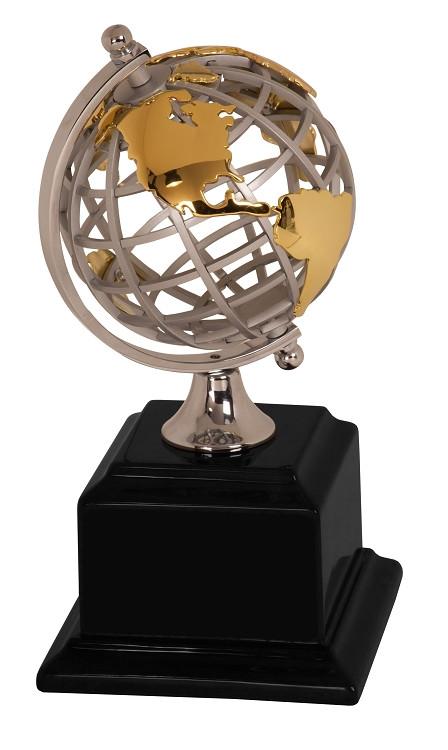 Gold & Silver Metal Globe Trophy