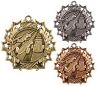 Pinewood Derby Ten Star Medal - Gold, Silver or Bronze | Scout 10 Star Medallion | 2.25 Inch Wide