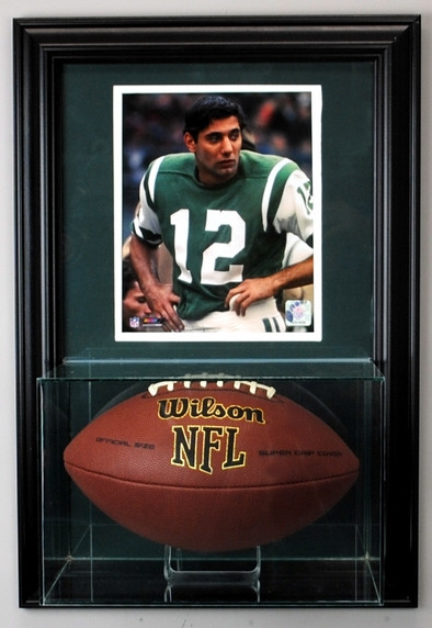 Wall Mounted Football Glass Display Case with 8x10 Photo Insert