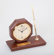 Desk Set – Genuine Walnut Base with Clock & Single Pen