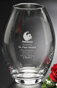 Clear Barrel Vase Crystal Award - Regular 8""