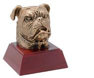 Bulldog Mascot Sculptured Trophy | Engraved Bulldog Award - 4 Inch Tall
