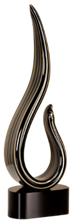 Art Glass Trophy - Black/Gold Curve | Artistic Corporate Award - 13.25""