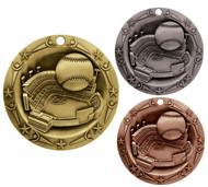 Baseball World Class Medal - Gold, Silver & Bronze | Engraved Little League Medallion | 3 Inch Wide