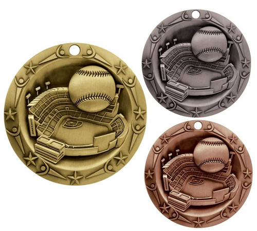 Baseball World Class Medal - Gold, Silver or Bronze | Engraved Little League Medallion | 3 Inch Wide