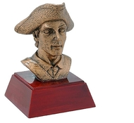 Patriot Mascot Sculptured Trophy | Engraved Patriot Award - 4 Inch Tall