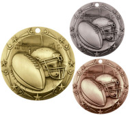 Football World Class Medal - Gold, Silver & Bronze | Engraved Gridiron Medallion | 3 Inch Wide