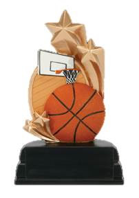 """Basketball Star Color Resin Trophy - 6"""" Tall - CLEARANCE"""