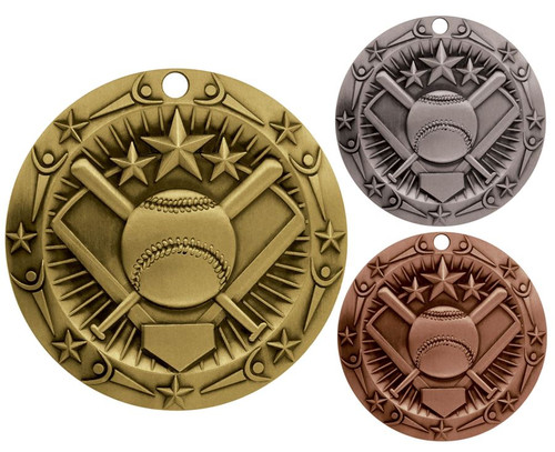 Softball World Class Medal - Gold, Silver or Bronze | Engraved Slow Pitch Medallion | 3 Inch Wide