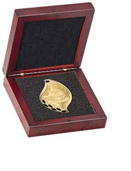 Rosewood Finish Wood Medal/Coin Box