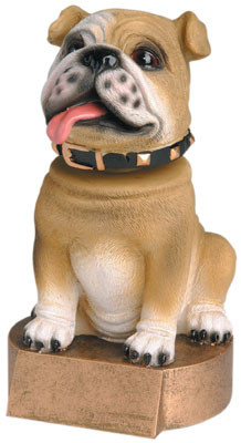 Bobblehead Bulldog Mascot Trophy - Brown