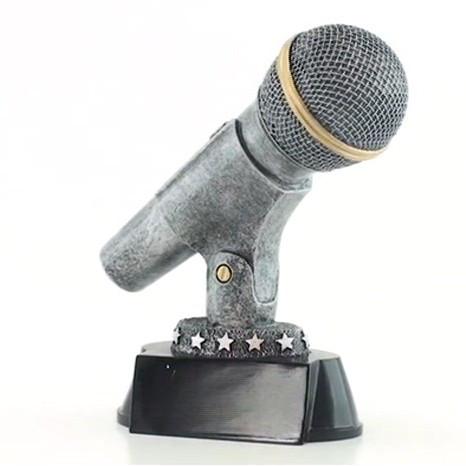 "Microphone Trophy - Silver  | Karaoke Singer DJ Announcer Mic Award - 6"""