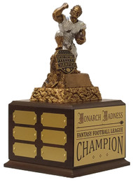 Fantasy Football Champion Monster Perpetual Trophy | FFL Perpetual Award - 11.25 Inch Tall  - Cherry Base