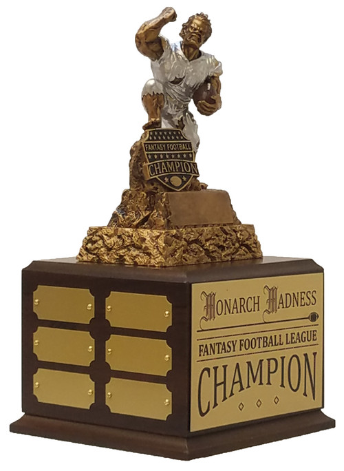 Fantasy Football Champion Monster Perpetual Trophy   Engraved FFL Perpetual Award - 13 Inch Tall - Cherry Base