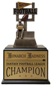 Fantasy Football Goalpost Perpetual Trophy | Engraved FFL Perpetual Award - 12 Inch Tall - Black Base / Gold Plate