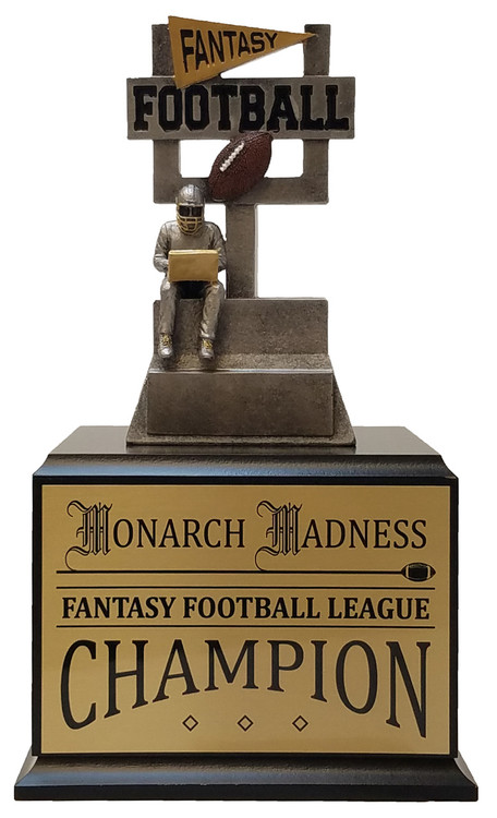 Fantasy Football Goalpost Perpetual Trophy | Engraved FFL Perpetual Award - 12 Inch Tall - Black Base / Gold Plate