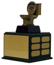 Fantasy Football Gold Toilet Bowl Perpetual Trophy | Golden Throne Last Place Award | 11.5 Inch Tall  - Black base with shield