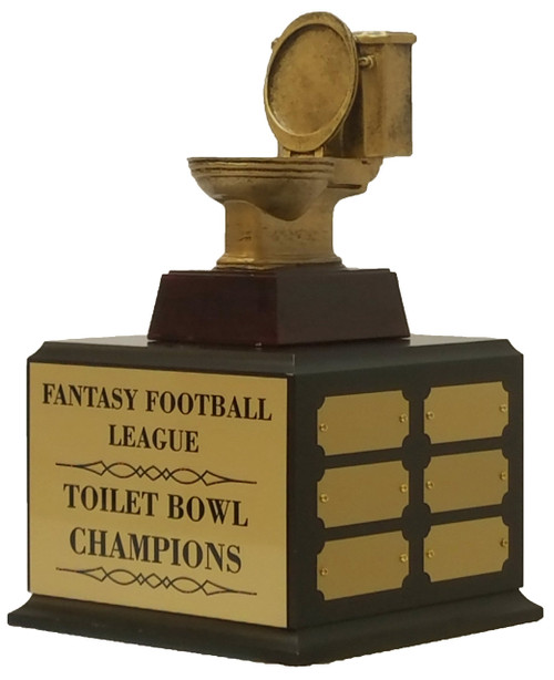 Fantasy Football Gold Toilet Bowl Perpetual Trophy   Golden Throne Last Place Award   11.5 Inch Tall  - Cherry base without shield