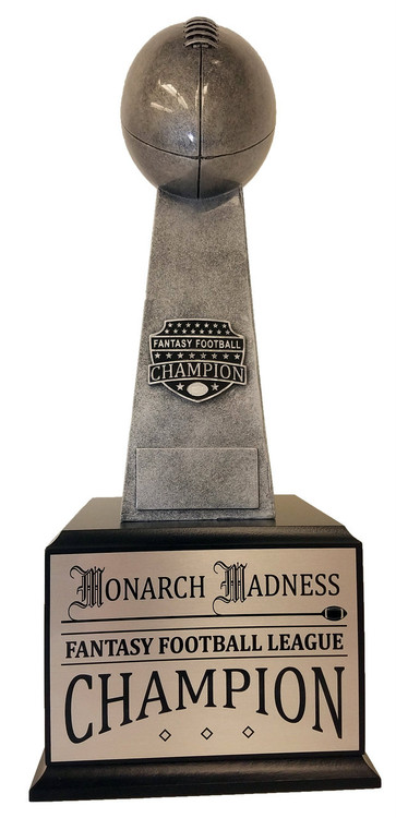 Fantasy Football Champion Silver Tower Perpetual Trophy | FFL Award | 17 Inch Tall