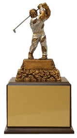 Golf Monster Perpetual Trophy | Engraved Golf Tournament Monster Perpetual Award - 13 Inch Tall - Cherry Base