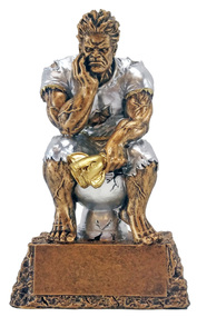 Monster on Toilet Bowl Last Place Trophy   Engraved FFL Beast Loser Award - 6.75 Inch Tall