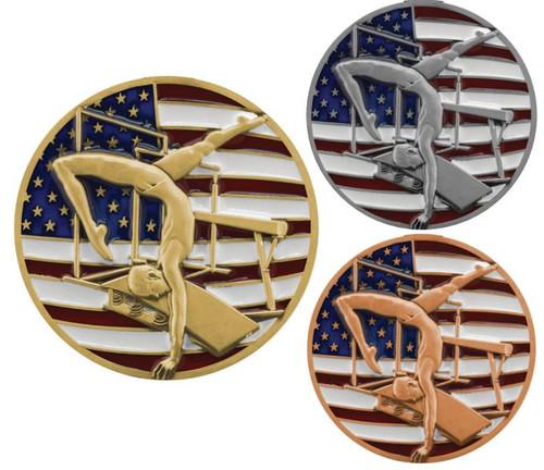 Gymnastics Patriotic Medal - Gold, Silver or Bronze | Engraved Red, White & Blue Gymnast Medallion | 2.75 Inch Wide