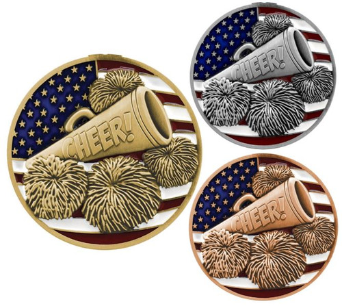 Cheer Patriotic Medal - Gold, Silver or Bronze | Engraved Red, White & Blue Spirit Medallion | 2.75 Inch Wide