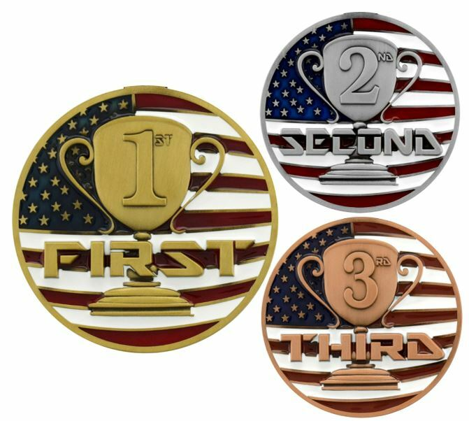 1st 2nd 3rd Place Patriotic Medal Gold Silver Or