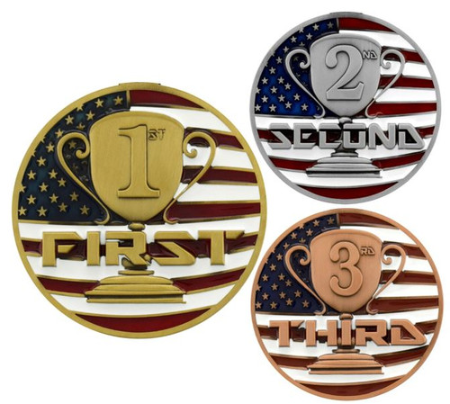 1st, 2nd, 3rd Place Patriotic Medal - Gold, Silver or Bronze | Engraved Red, White & Blue Place Medallion | 2.75 Inch Wide