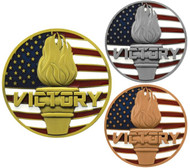 Victory Flame Patriotic Medal - Gold, Silver or Bronze | Engraved Red, White & Blue Flame of Victory Place Medallion | 2.75 Inch Wide