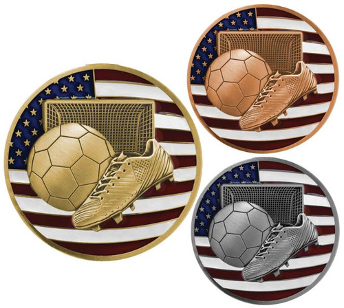 Soccer Patriotic Engraved Medal – Gold, Silver, Bronze | Engraved Red, White & Blue Futbol Medallion | 2.75 Inch Wide