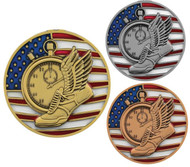 Track & Field Patriotic Medal – Gold, Silver, Bronze | Engraved Red, White & Blue Running Medallion |  2.75 Inch Wide