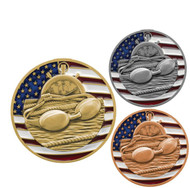 Swimming Patriotic Medal - Gold, Silver or Bronze | Engraved Red, White & Blue Swim Meet Medallion | 2.75 Inch Wide