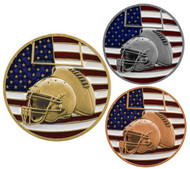 Football Patriotic Medal – Gold, Silver, Bronze | Engraved Red, White & Blue Gridiron Medallion | 2.75 Inch Wide