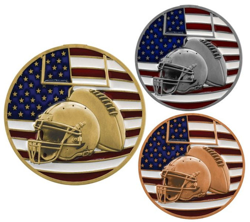 Football Patriotic Medal - Gold, Silver or Bronze | Engraved Red, White & Blue Gridiron Medallion | 2.75 Inch Wide